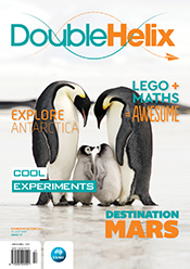 Magazine cover with penguin family