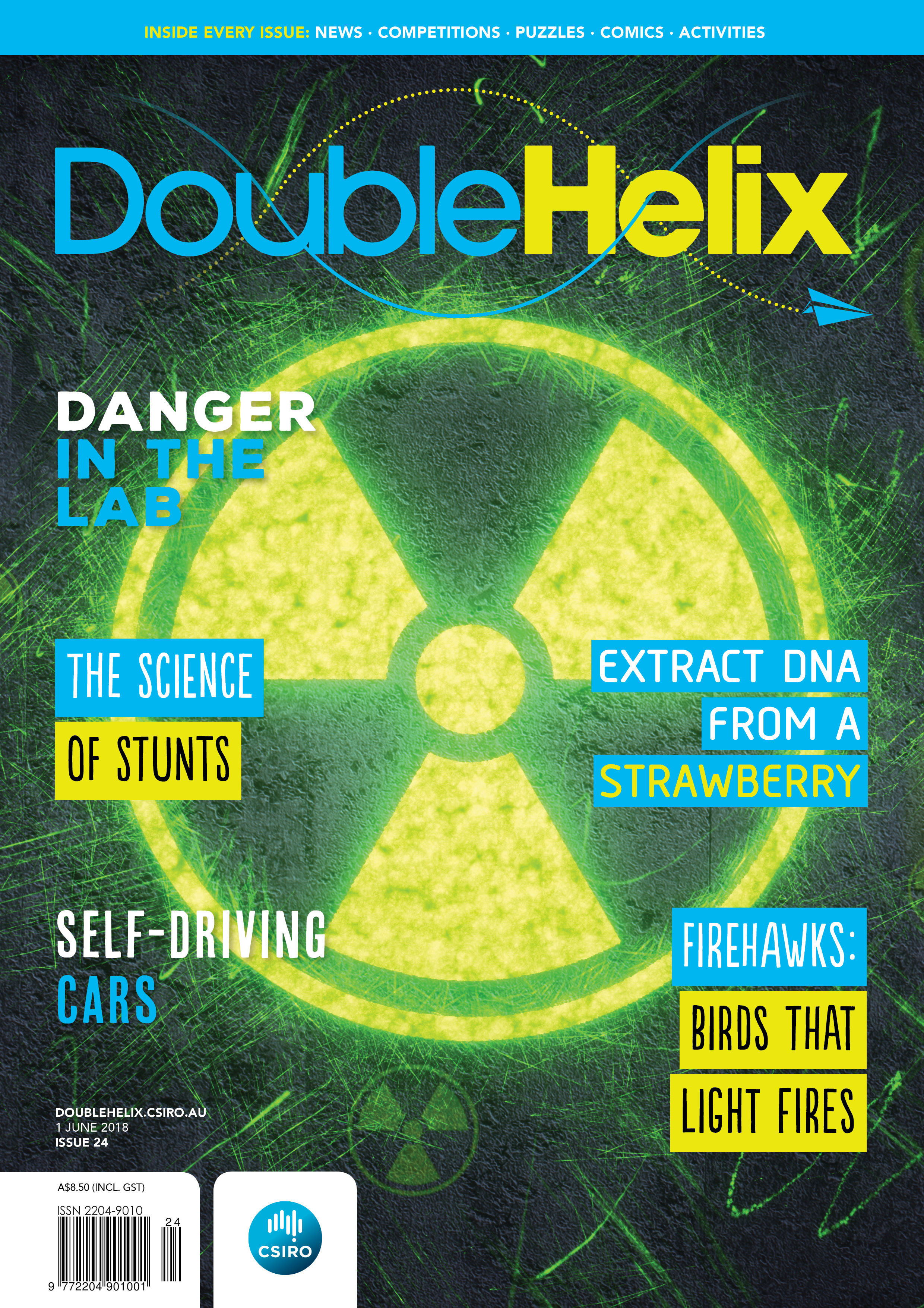 Double Helix cover with radioactive symbol