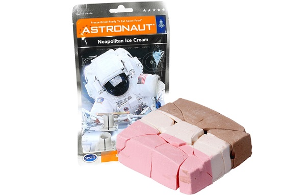 A packet of astronaut cecream, in brown, white and pink flavours.