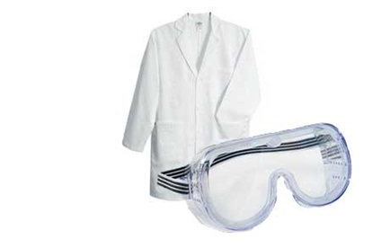 Child's lab coat and goggles