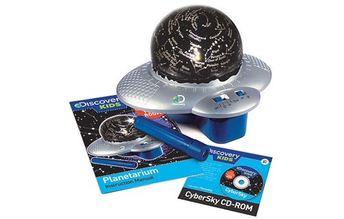 Image of a globe shaped planetarium with disc, laser pointer and instructions