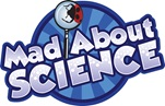 Mad About Science logo with a ladybird in part magnified through a magnifying glass.