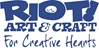 Logo for art supplier;  Riot! Art & Craft, for creative hearts.