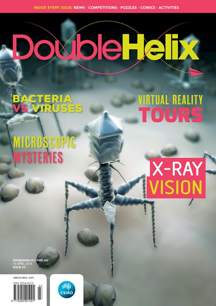 Double Helix Issue 23 cover with bacteriophages