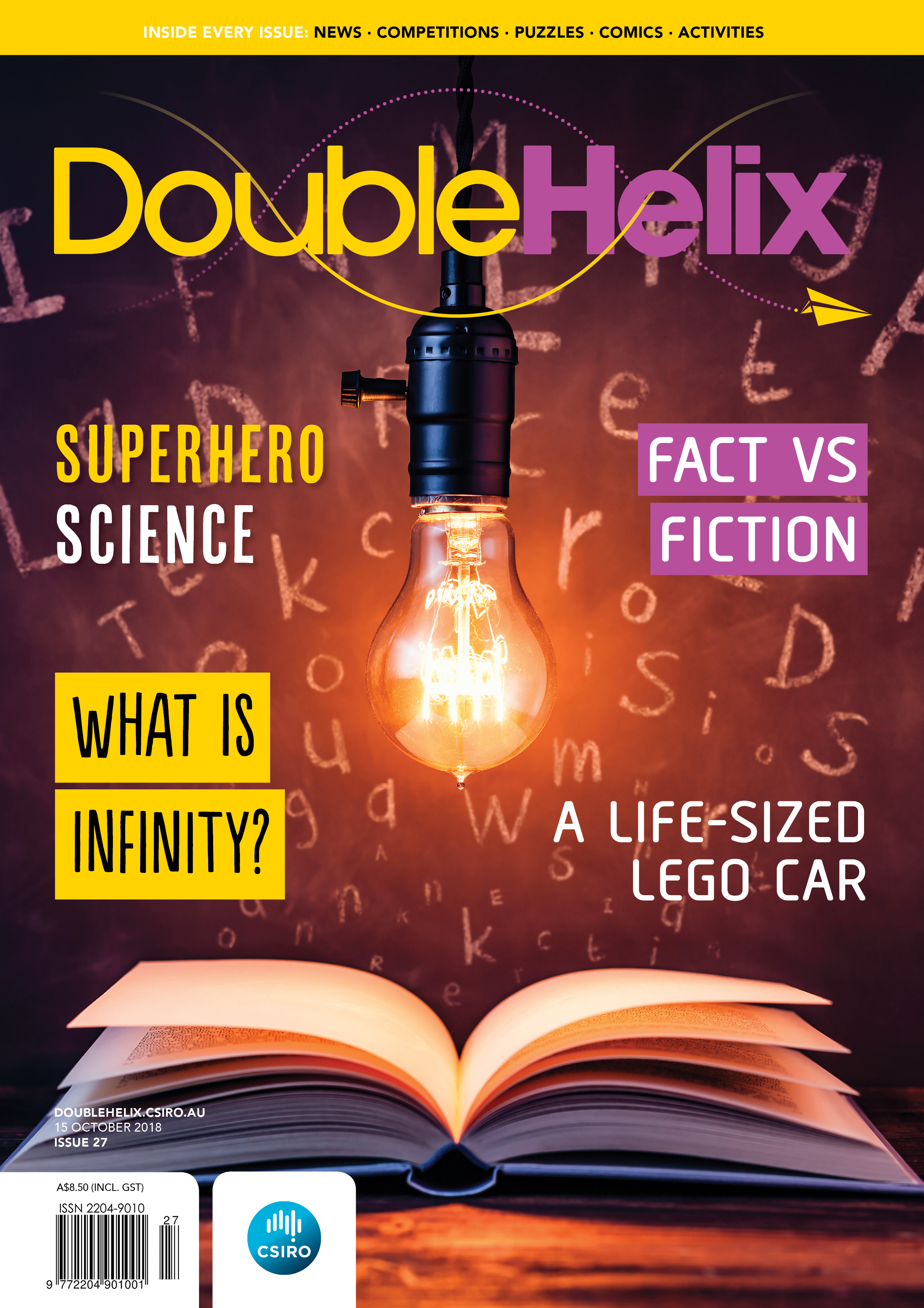 Magazine cover with light bulb shining over open book