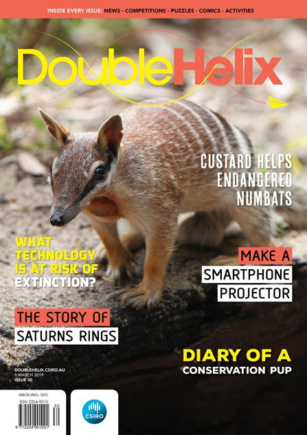 Issue 30 cover with text on background image of numbat standing on a rock