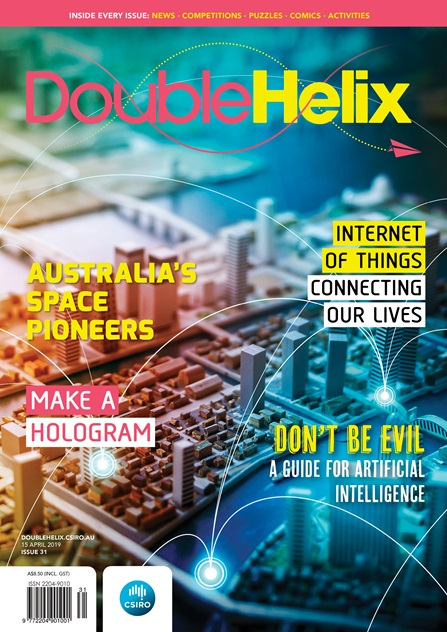Cover of Double Helix magazine with brightly coloured abstract of a cityscape
