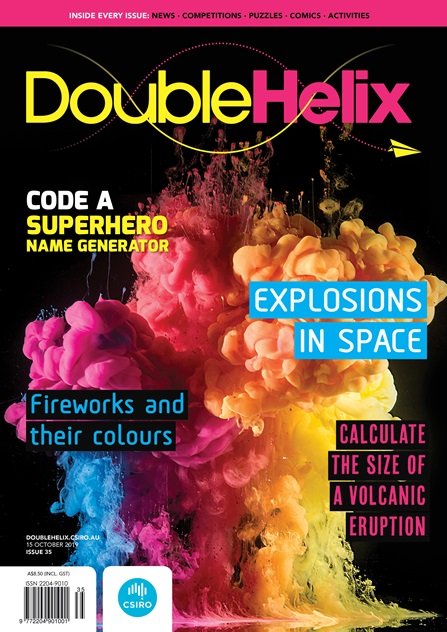 Cover of Double Helix magazine, featuring a photo of colourful paint being dropped into water, photographed to look like an explosion
