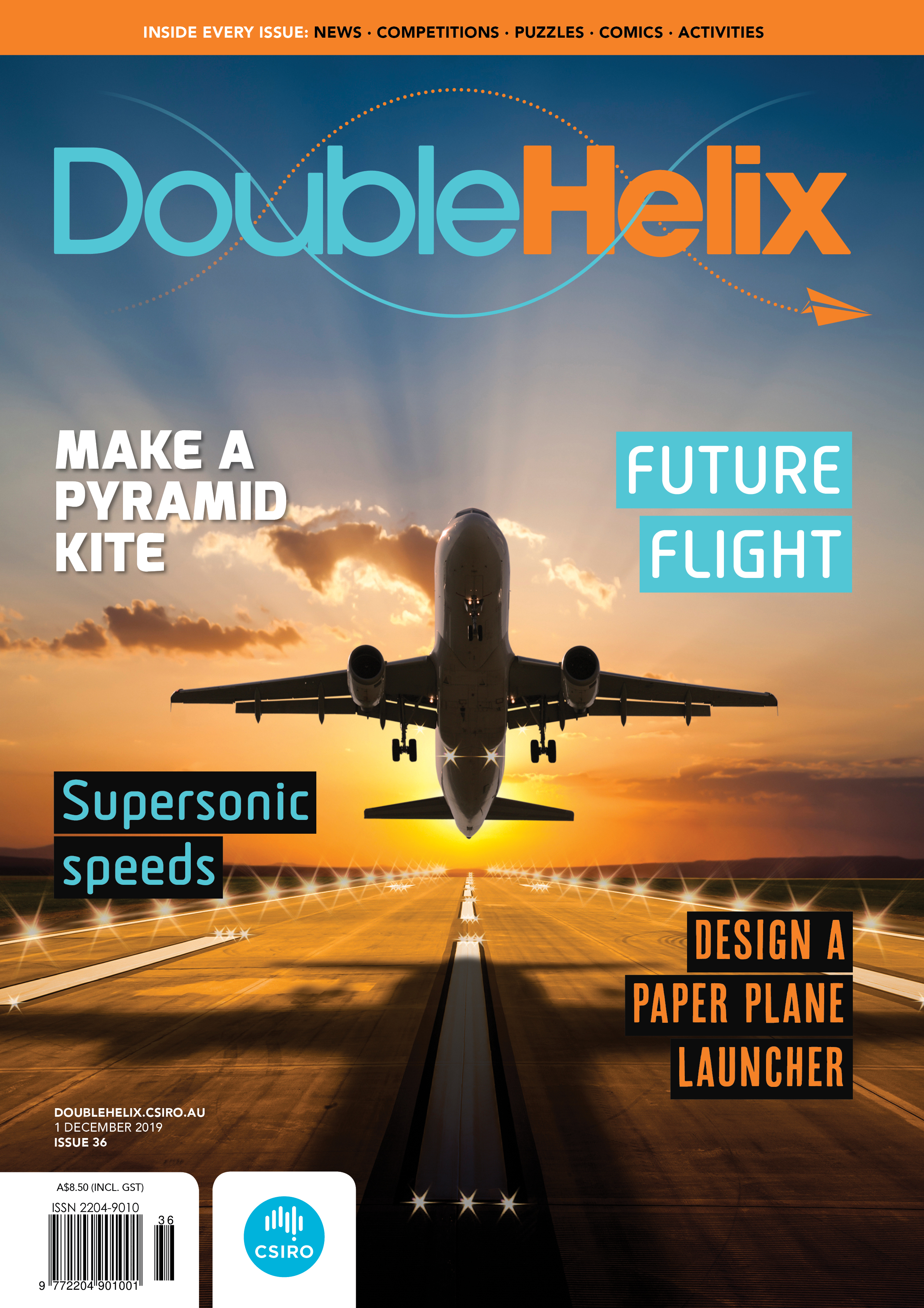 Cover of Double Helix magazine featuring an image of a plane taking off from a runway with a sunset behind it