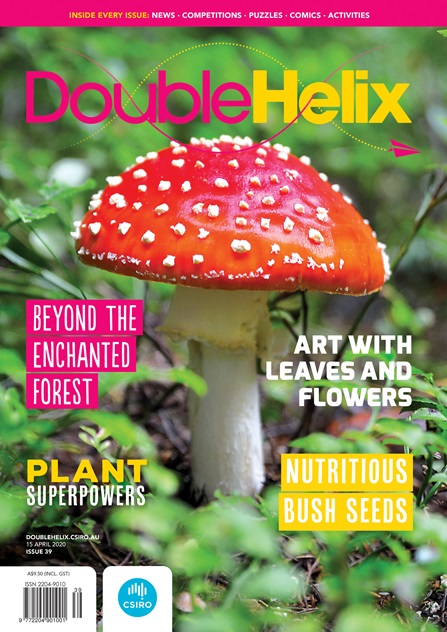 Cover of Double Helix magazine, featuring a photo of a red mushroom with white spots on a forest floor, with text overlaid on top.