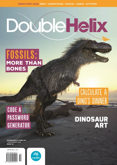 Cover of Double Helix magazine featuring a lifelike illustration of a tyrannosaurus rex standing on a beach at sunset.