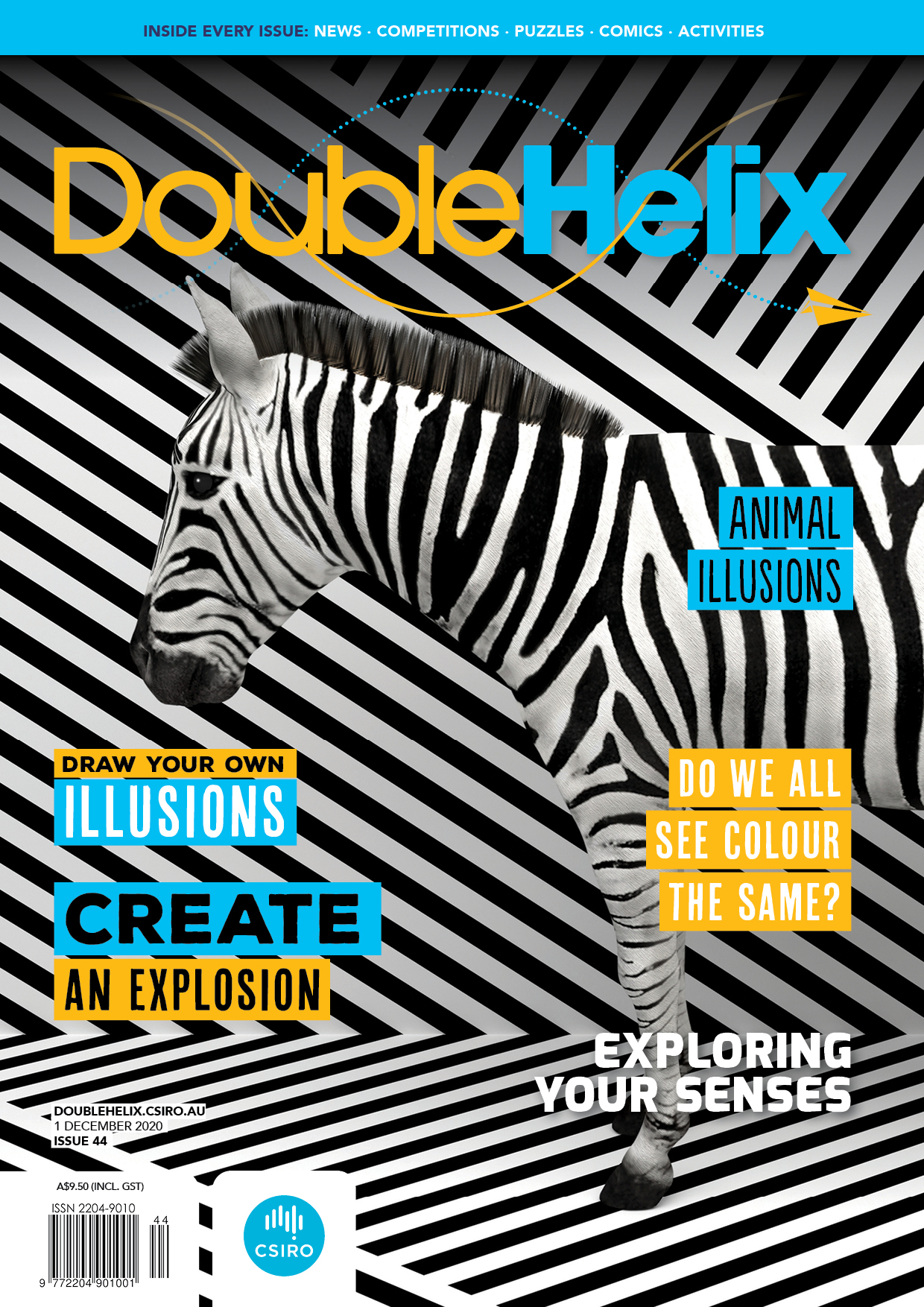 Cover of Double Helix, issue 44 featuring a photo of a zebra standing in front of a black and white backdrop and floor, creating an optical illusion.