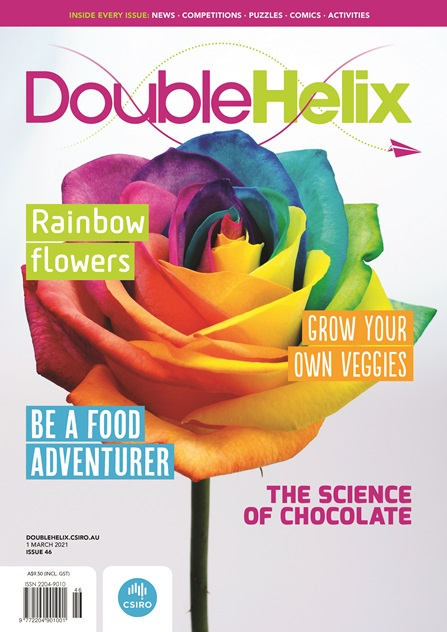 Cover of Double Helix magazine Issue 46 featuring a closeup photo of a rainbow coloured rose, with text overlaid.