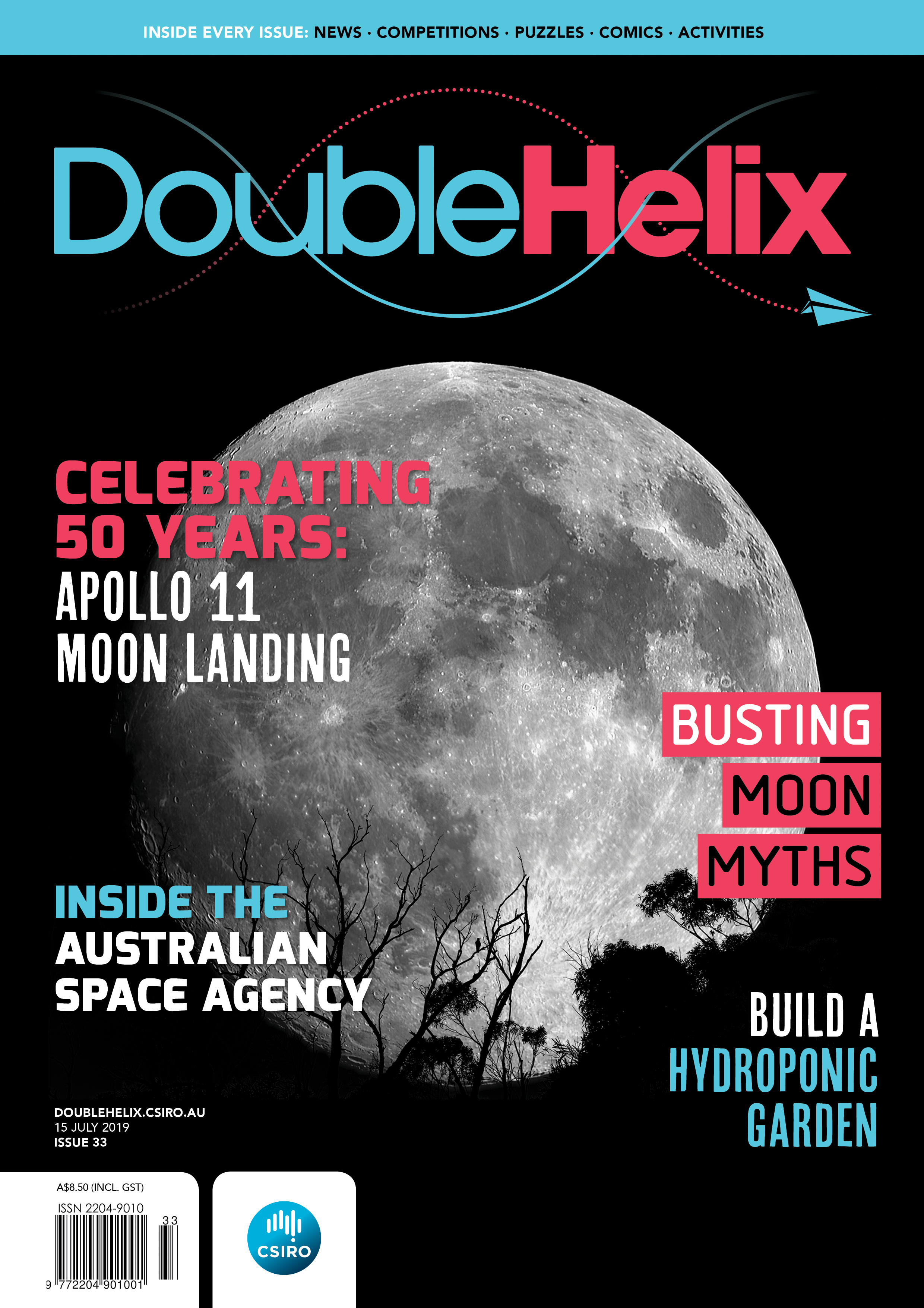 Magazine cover with full moon on black background with pink and blue text